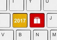 Computer keyboard with New Year keys. Holiday concept Royalty Free Stock Photo