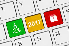 Computer keyboard with New Year keys Royalty Free Stock Photography