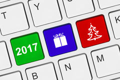 Computer keyboard with New Year keys. Holiday concept Royalty Free Stock Images