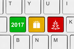 Computer keyboard with New Year keys Stock Image
