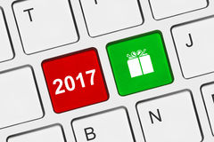 Computer keyboard with New Year keys. Holiday concept Stock Photography