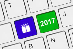 Computer keyboard with New Year keys Royalty Free Stock Image