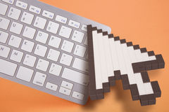 Computer keyboard on orange background. computer signs. 3d rendering. 3D illustration. Royalty Free Stock Photo