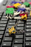 Computer keyboard and paper clip Royalty Free Stock Photography