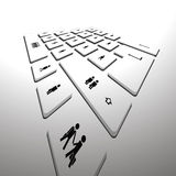 Computer keyboard perspective Royalty Free Stock Image