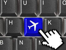 Computer keyboard with Plane key Royalty Free Stock Images