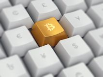 Keyboard buttons with bitcoin cryptocurrency and other currency. Computer keyboard with popular cryptocurrency bitcoin on golden button and common currency Stock Photos