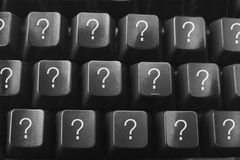 Computer Keyboard with Questions Marks Stock Photo