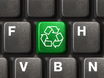Computer keyboard with recycling symbol Stock Photos
