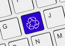 Computer keyboard with recycling symbol Stock Photography
