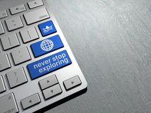 Computer keyboard, the search button. Internet travel Royalty Free Stock Photos