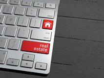 Computer keyboard, the search button. Search Engine, Real estate Royalty Free Stock Photo