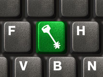 Computer keyboard with security button Stock Photography