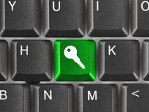 Computer keyboard with security key Stock Images