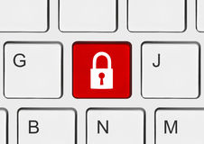 Computer keyboard with security key Royalty Free Stock Photos