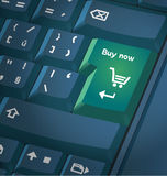 Computer keyboard with shopping key Royalty Free Stock Photos