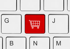 Computer keyboard with shopping key Stock Image