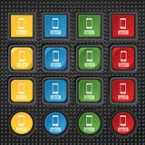 Computer keyboard and smatphone Icon. Set. Colourful buttons. Vector illustration Stock Photos