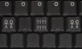 Computer keyboard with smile key Stock Photos