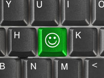 Computer keyboard with smile key Royalty Free Stock Photos