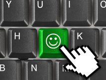 Computer keyboard with smile key Royalty Free Stock Photo