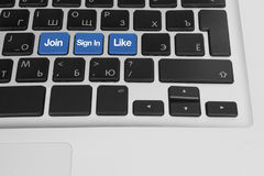 Computer keyboard with socail buttons royalty free stock photos