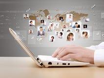Computer keyboard and social media images Royalty Free Stock Photo