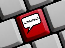 Computer Keyboard: Dismissal german. Computer Keyboard with Speech Bubble showing Dismissal in german language Stock Photography