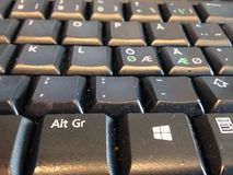 Dusty computer keyboard with Swedish and Scandinavian letters Royalty Free Stock Photography