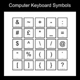 Computer Keyboard Symbols. A set of twenty five computer keyboard symbols with icon view and correct name. Icons include, ampersand, pound sign, brackets and Stock Photography