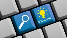 Search Solutions online - Computer Keyboard. Computer Keyboard with symbols is showing search Solutions Royalty Free Stock Image