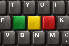 Computer keyboard with three blank keys Royalty Free Stock Photo