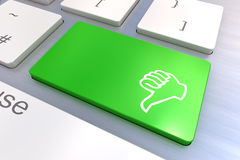 Computer keyboard with thumb gesturing hand key Stock Images