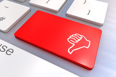 Computer keyboard with thumb gesturing hand key Royalty Free Stock Photography