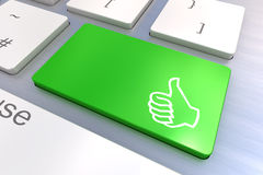 Computer keyboard with thumb gesturing hand key Stock Photography