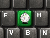 Computer keyboard with time key Royalty Free Stock Photo