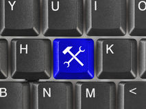 Computer keyboard with tools key Stock Photo