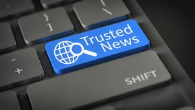 Computer keyboard Trusted News. 3d illustration of a computer keyboard with text Trusted News Stock Photo