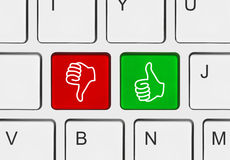Computer keyboard with two gesturing hands Royalty Free Stock Images