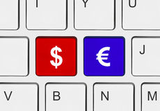 Computer keyboard with two money keys Royalty Free Stock Photo