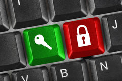 Computer keyboard with two security keys Royalty Free Stock Photography