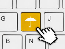 Computer keyboard with umbrella key Stock Photography