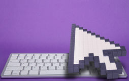 Computer keyboard on violet background. computer signs. 3d rendering. 3D illustration. Royalty Free Stock Images