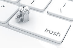 Computer keyboard white button with trash can Stock Photo
