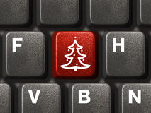 Computer Keyboard With Christmas Tree Key Stock Photos