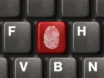 Computer Keyboard With Fingerprint Stock Photography