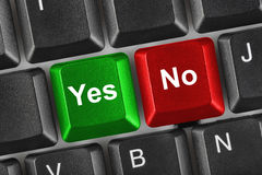 Computer Keyboard With Yes And No Keys Royalty Free Stock Photo