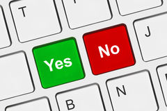 Computer keyboard with Yes and No keys Royalty Free Stock Images