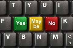 Computer keyboard with Yes, No and Maybe keys. Business concept Royalty Free Stock Photos