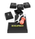Computer keys with screwdriver and wrench Royalty Free Stock Images